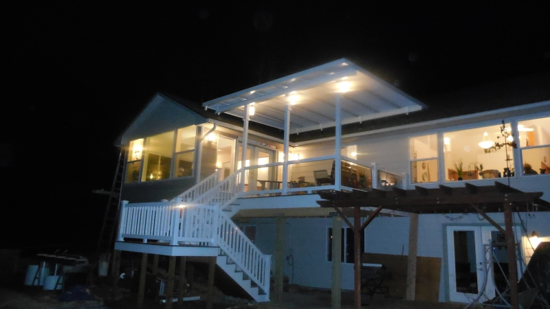 Beautiful patio cover lighted for night bbq's
