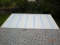 Roof view of aluminum patio cover with skylights