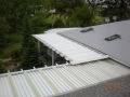 Top side of aluminum awning walkway with sklights