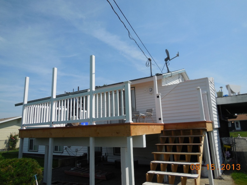 Construction of deck and aluminum patio cover posts