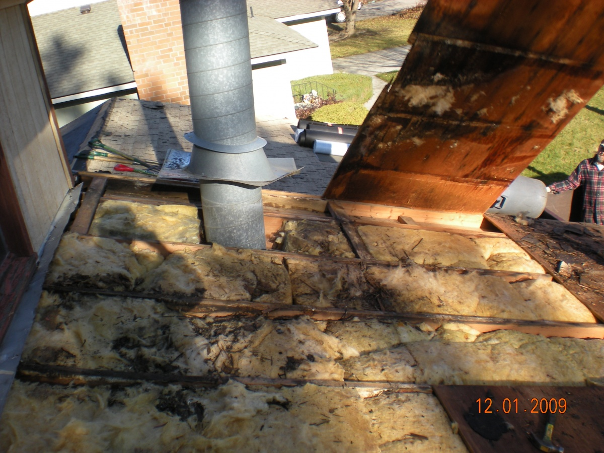 Rotten roofing deck due to poor venting