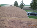 Example of a 3-tab roofing shingle late 1980\'s with open valley