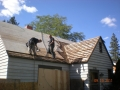 """Spaced sheeted attic  being covered with 1/2"""" CDX plywood"""
