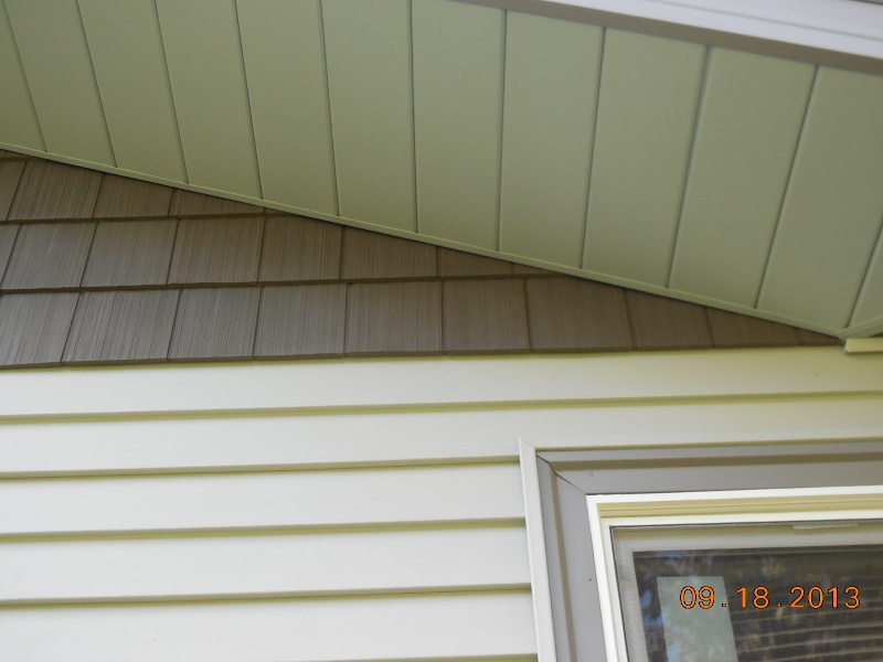 vinyl shake gable siding, horizontal vinyl on walls, aluminum soffit, vinyl window and window trim