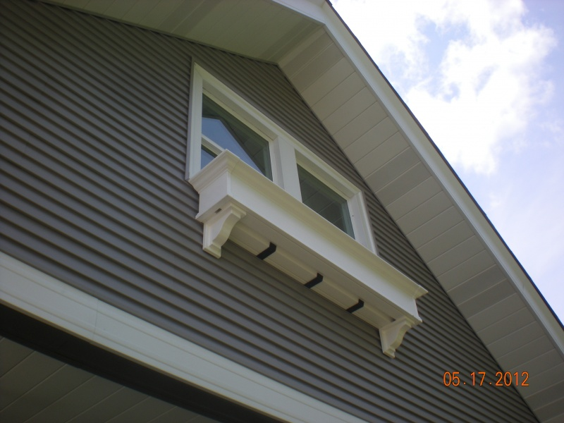 Vinyl flower box replaces vintage house old original 1910 wooden box, vinyle siding, vindows, soffit & fascia