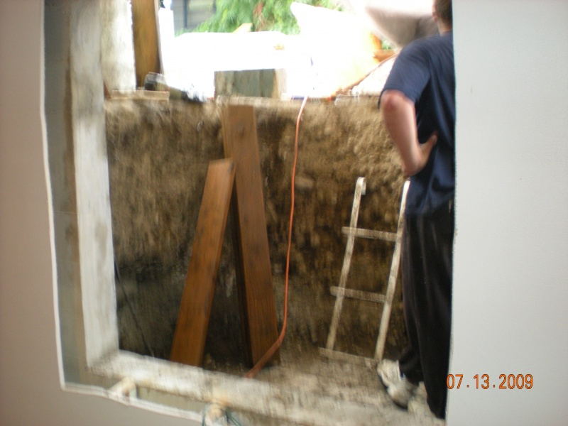after cement egress window hole cut in